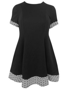 Plus Size Swing Dress with Jacquard Panels