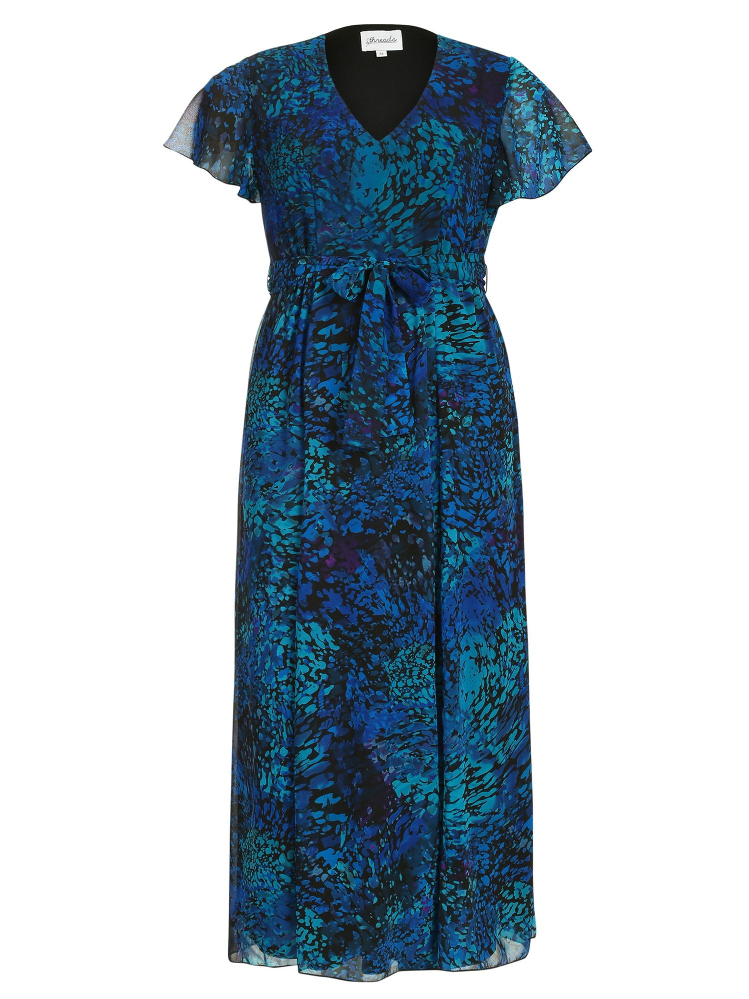 Threads Plus Size Angel Sleeve Maxi Dress Blue
