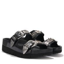 TEXMEX leather buckle detail sandals