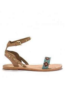 PEARL aztec single strap leather sandals