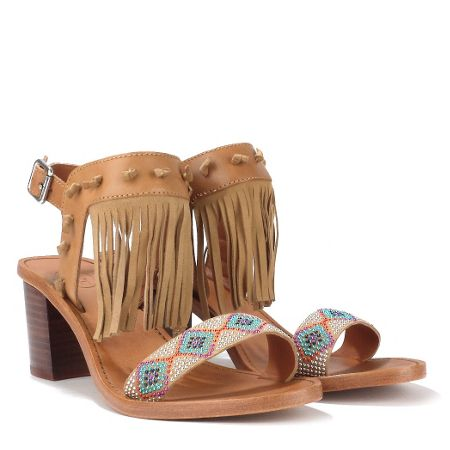 Ash PATCHOULI aztec mid-heel leather sandals