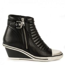 Genius low wedge leather trainers