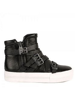 Ash Jet high top buckle leather trainers