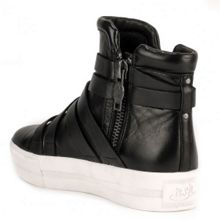 Jet high top buckle leather trainers