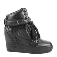 Ashes leather wedge trainers