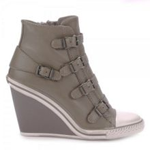 Thelma buckle leather wedge trainers