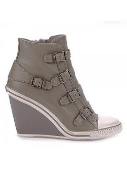 Ash Thelma buckle leather wedge trainers