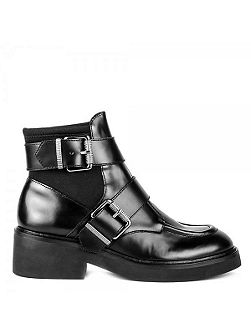 Nikko leather neoprene buckle boots