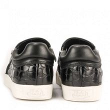 Intense croc effect leather trainers