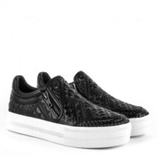 Jig quilted zip leather trainers