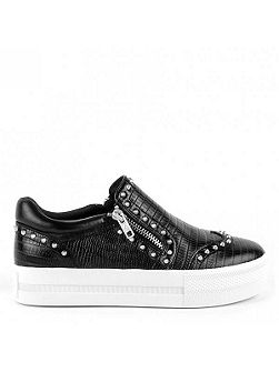 Ash Jasmin zip detail leather trainers