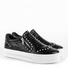 Jasmin zip detail leather trainers