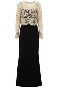 Almost Famous Lace Overlay Ball Gown