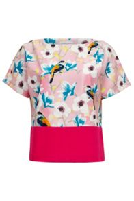 Almost Famous Floral Bird Colour Panel Blouse