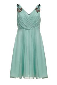 Almost Famous Embellished Silk Dress