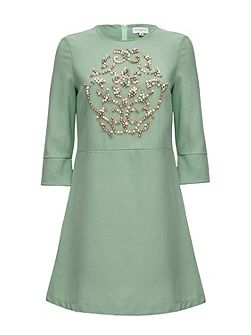 Embellished Crepe Dress