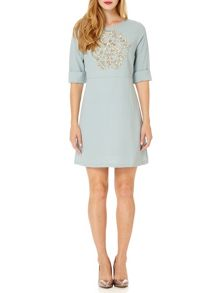Almost Famous Embellished Crepe Dress