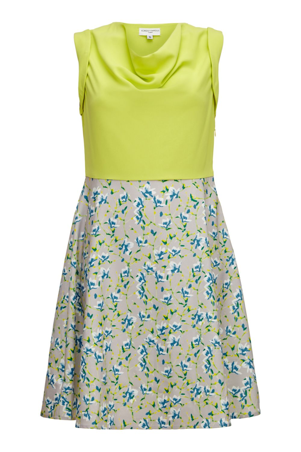 Almost Famous Almost Famous Painted Floral Skirt Dress, Yellow