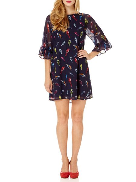 Almost Famous Flutter Sleeve Bird Print Tunic