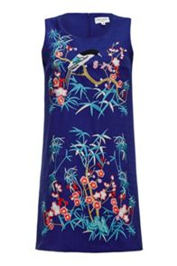 Almost Famous Embroidered Bird Shift Dress