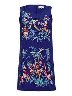 Embroidered Bird Shift Dress