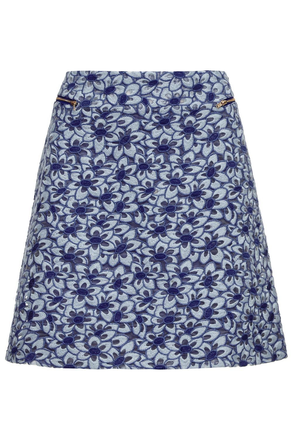Almost Famous Almost Famous Embroidered Floral MinI Skirt, Blue