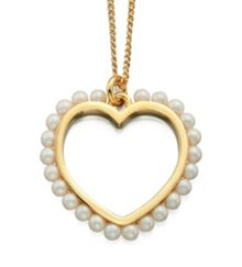 Open heart necklace with pearl surround