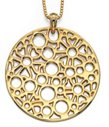 Large round cut-out disc necklace