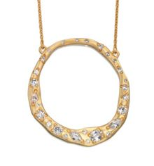 Cubic zirconia hammered disc necklace