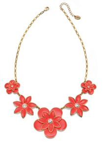 Flower necklace with crystal centres
