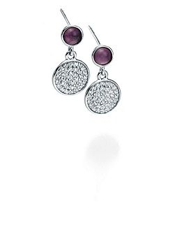 Amethyst Cabouchon and CZ Pave Earrings