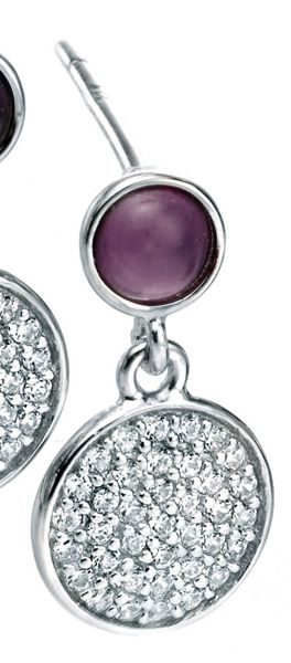 Fiorelli Silver Amethyst Cabouchon and CZ Pave Earrings
