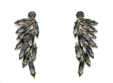 Gold & grey acrylic leaf cluster earrings