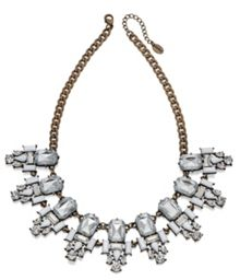 Antique brass clear & white crystal cluster neckl