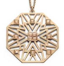 Large octagonal cut out pattern gold pendant