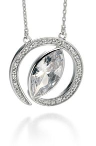 Fiorelli Silver Twisted CZ Marquise and Pave Necklace