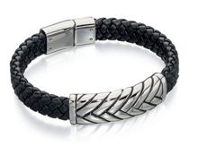Fred Bennett Black leather woven bracelet