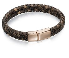 Fred Bennett Wide Plaited Brown Leather Rose Gold Bracelet