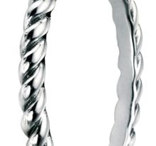 Elements Silver Oxidised twist band ring