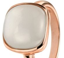 Elements Silver Rose gold cabochon moonstone ring