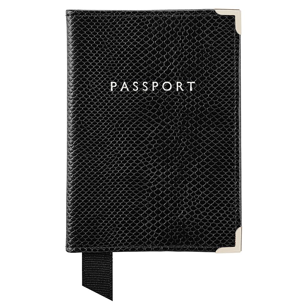 Aspinal of London Plain passport cover Nearly Black
