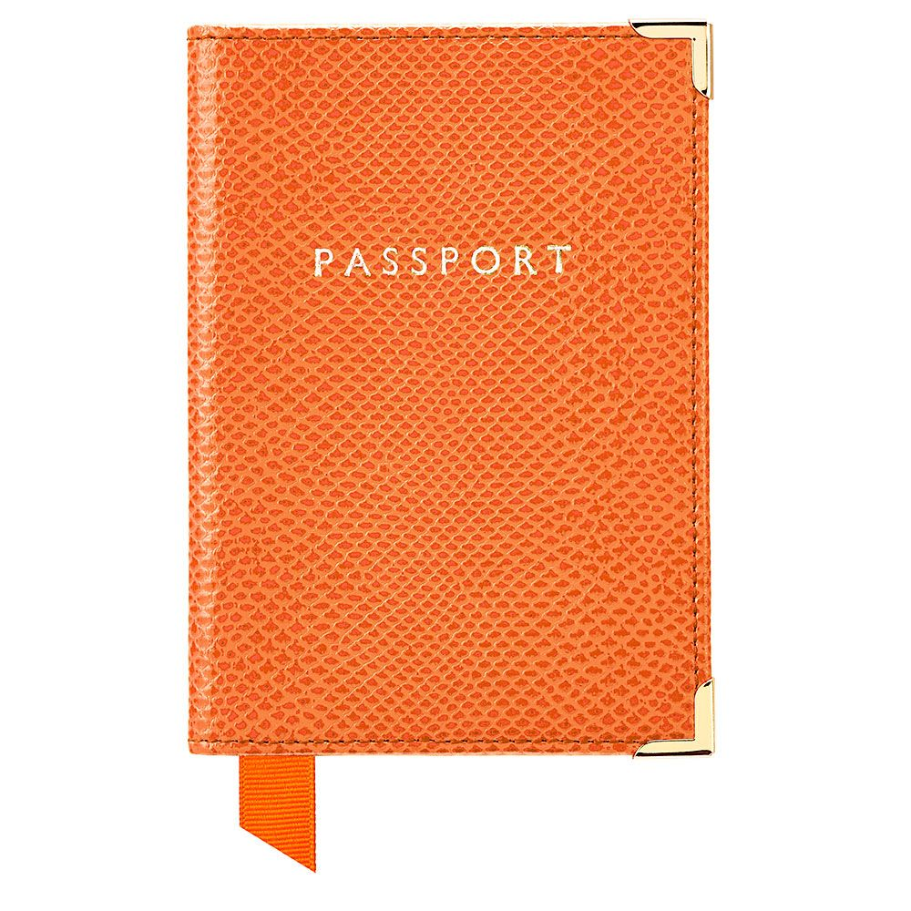Aspinal of London Plain passport cover Orange