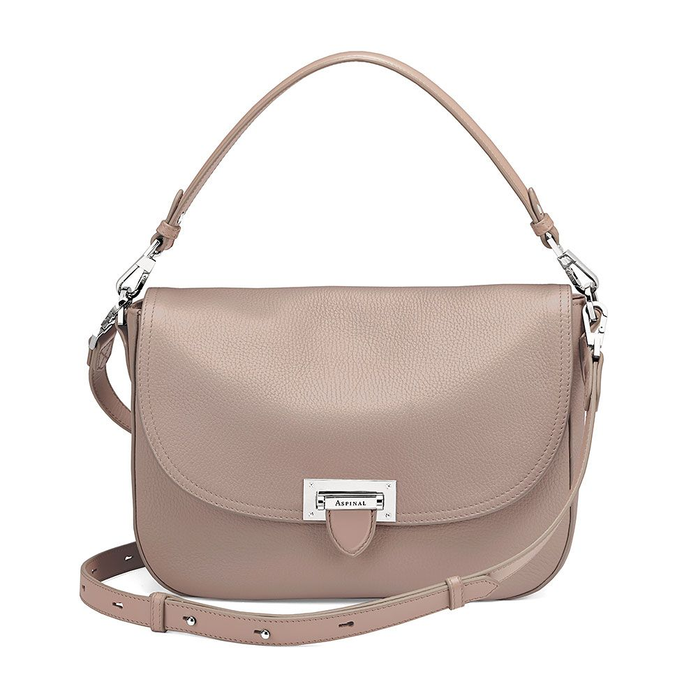 Aspinal of London Letterbox slouchy saddle bag Taupe