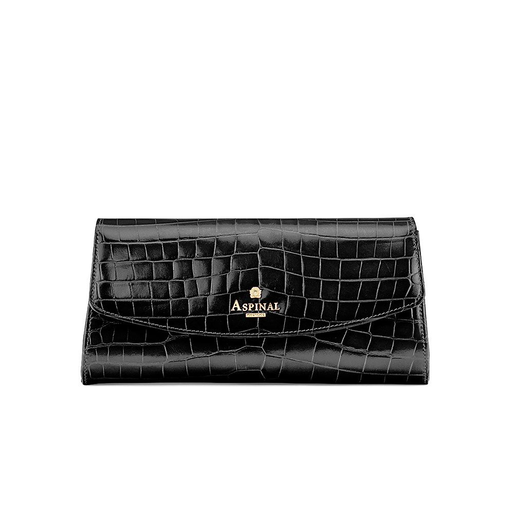 Aspinal of London Eaton clutch with aspinal pin branding Black