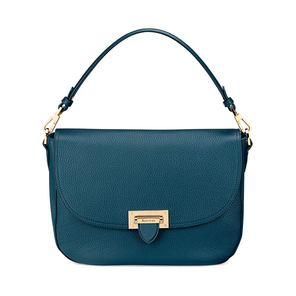 Aspinal of London Aspinal of London Letterbox slouchy saddle bag, Peacock Blue