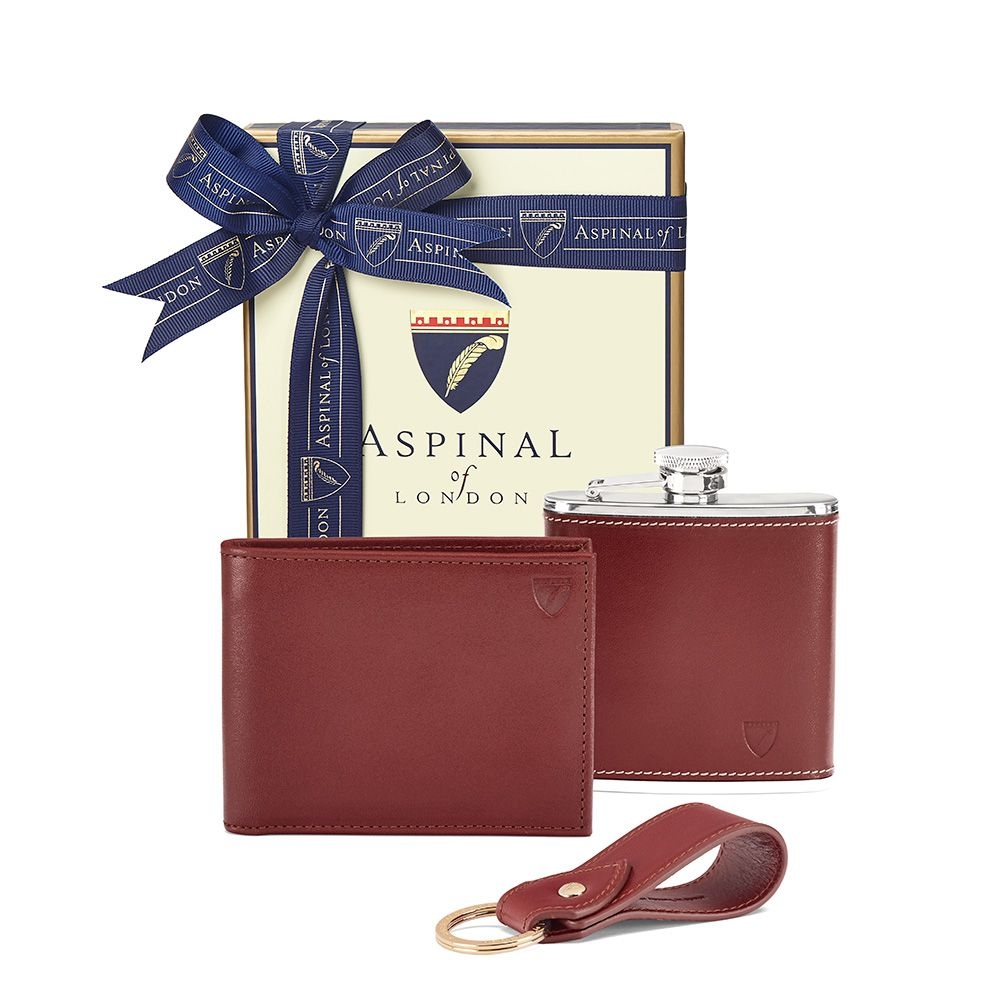 Aspinal of London Aspinal of London Mens Wallet Gift Set, Cognac