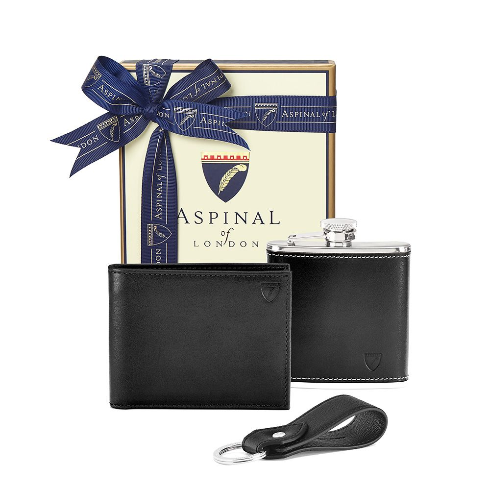 Aspinal of London Aspinal of London Mens Wallet Gift Set, Black