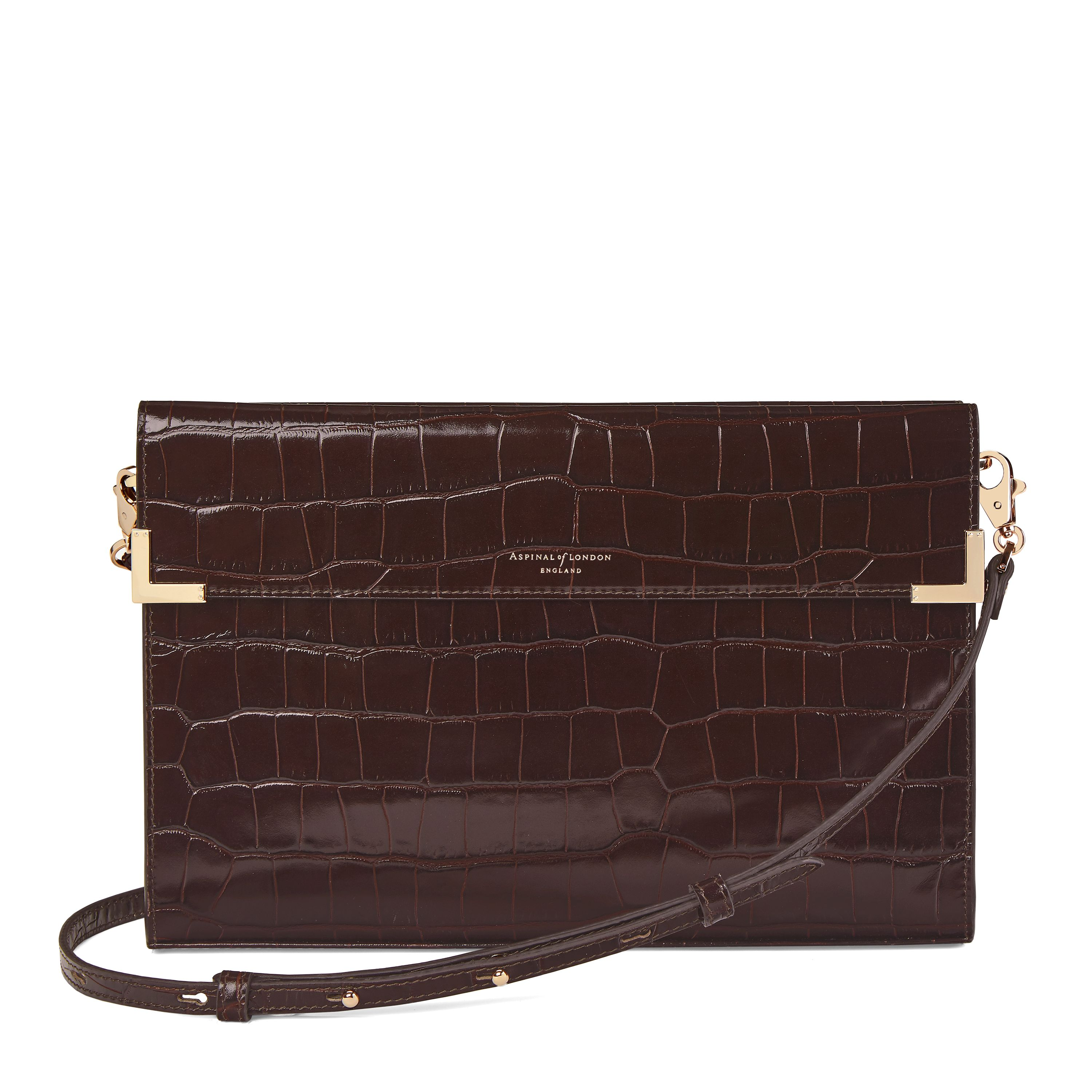Aspinal of London Editors clutch, Brown