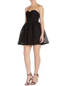 Strapless Textured Fit and Flare Dress