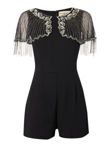Lace and Beads Sleeveless Mesh Beaded Overlay Shoulder Playsuit